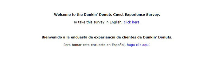 Dunkin Donuts Survey Language Select