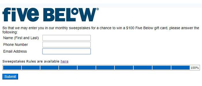 Five Below submit survey