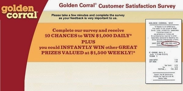 golden corral customer satisfaction survey online home page with a sample golden corral receipt
