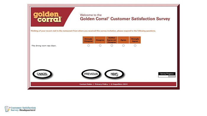 golden corral customer satisfaction survey online new question