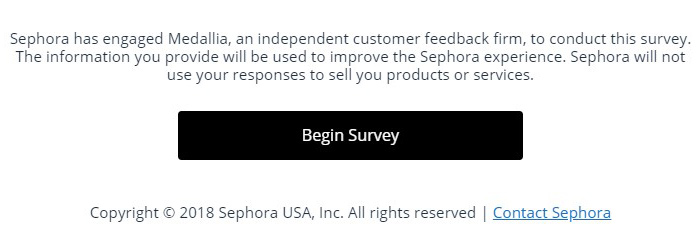 Sephora begin survey