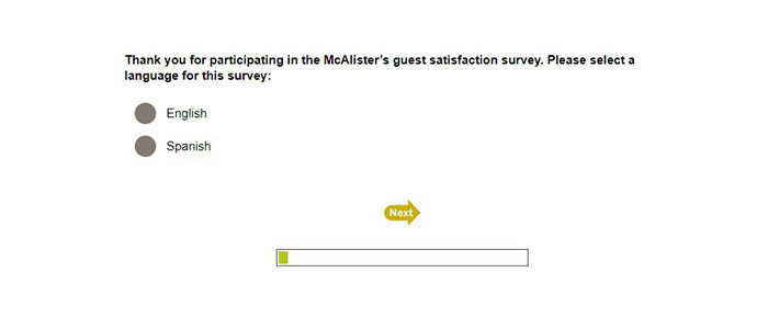 McAlister's Survey Language Select